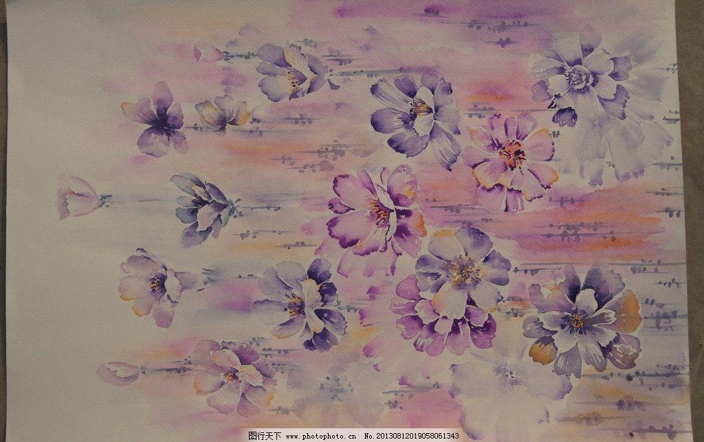 水彩手绘花卉 服装 服装面料素材 手绘花卉植物组合 抽象花卉 简约