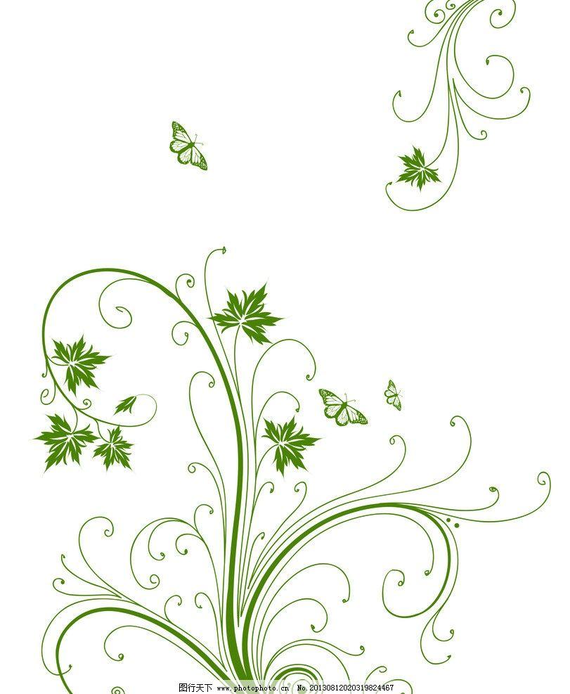 绿色花纹 蝴蝶 移门 藤蔓 花边花纹 底纹边框