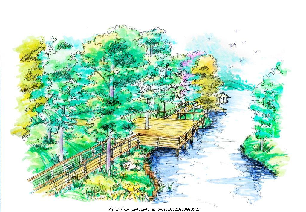 手绘 景观 景观设计 园林设计 园林景观 手绘树木 小溪 环境设计 设计