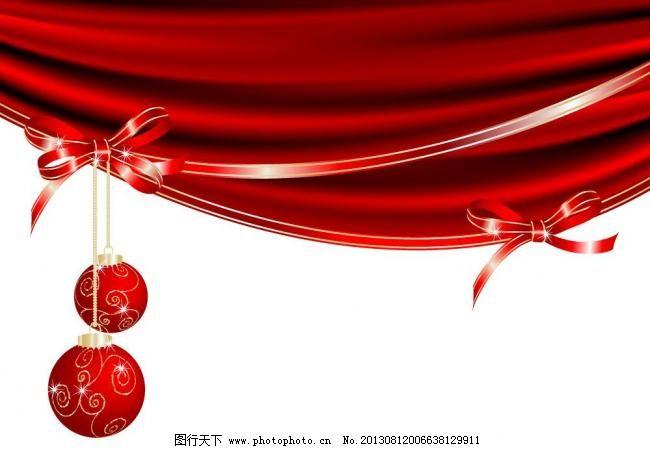 动感丝绸蝴蝶结圣诞背景图片_手绘海报_海报设计_图行