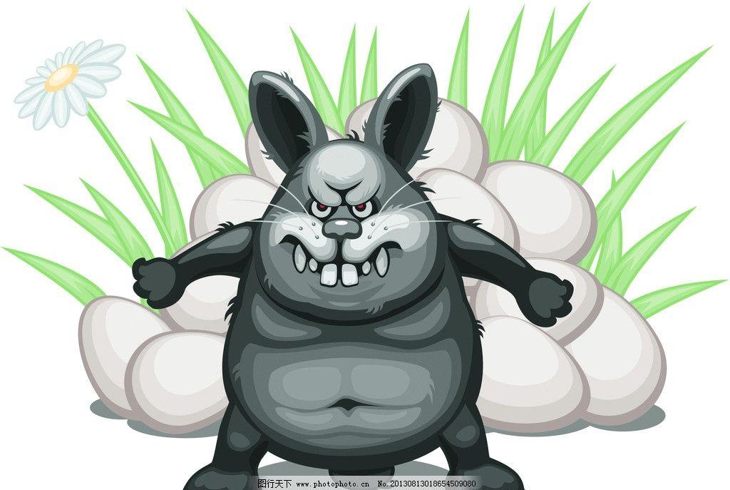 小动物 动物 可爱 兔子 漫画 卡通 插画 凶狠 保护 其他 动漫动画