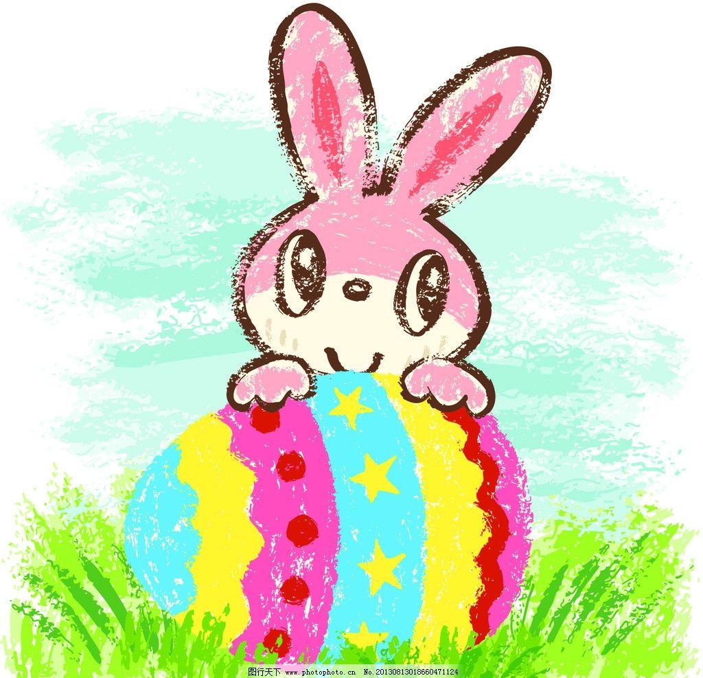 卡通兔 小动物 动物 可爱 兔子 漫画 卡通 插画 彩蛋 草地 其他 动漫