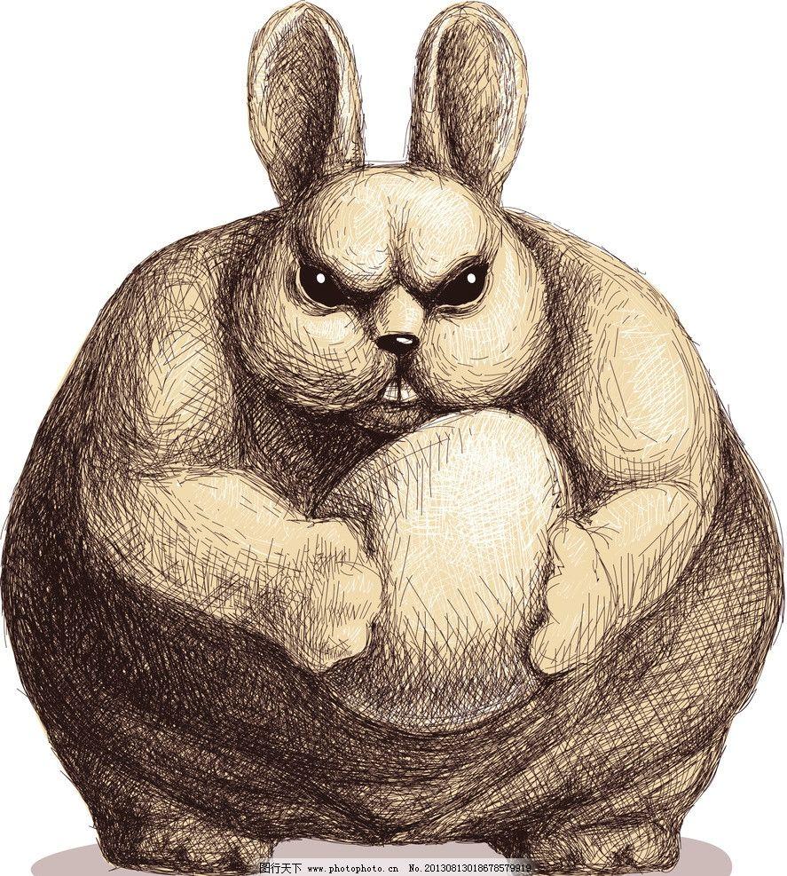 卡通兔 小动物 动物 可爱 兔子 漫画 卡通 插画 肌肉 凶狠 其他 动漫