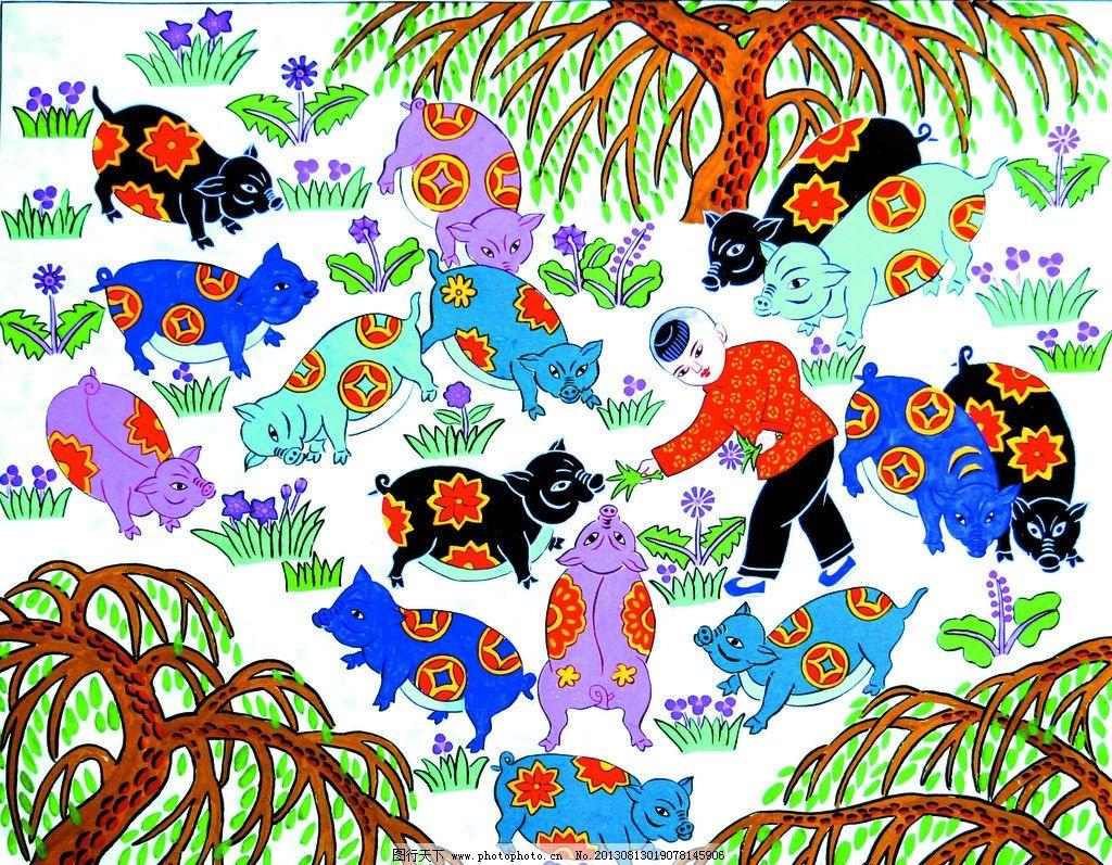 农民画童趣 农民画 童趣 儿童玩耍 小孩 儿童嬉戏图 绘画书法 文化