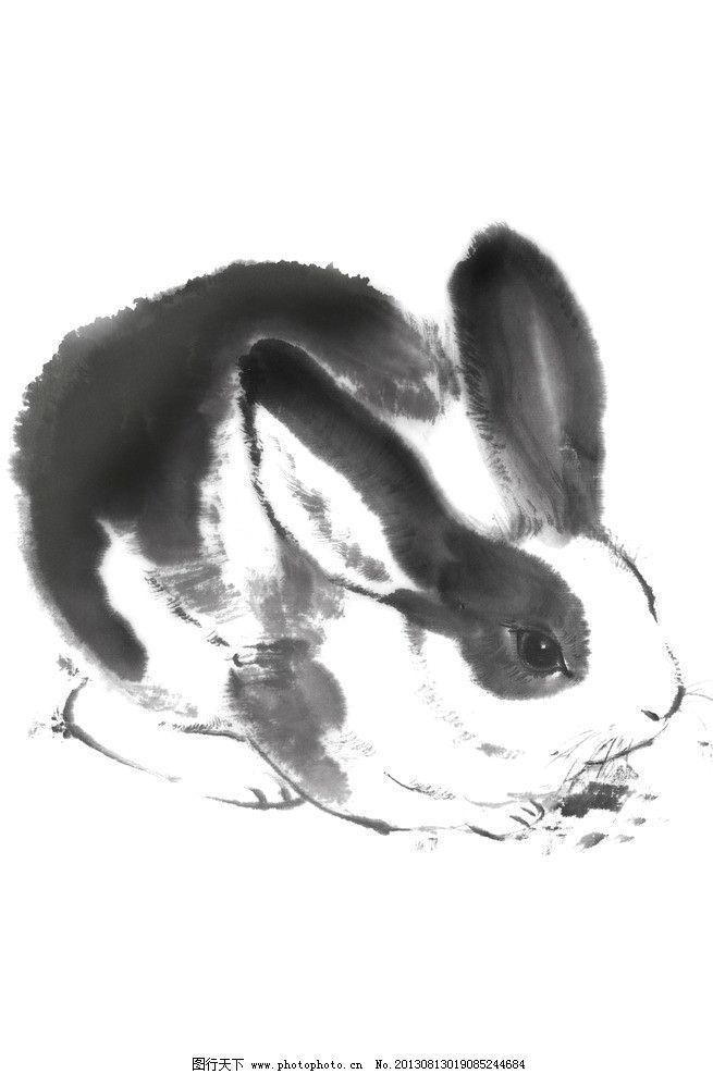 绘画兔 兔子 兔年 生肖 绘画 画作 中国画 水墨 绘画书法 文化艺术