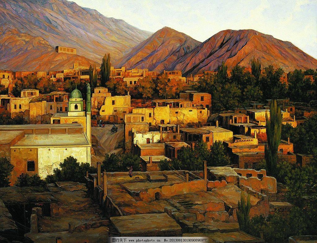 风景画 山村 房屋 山岭 油画艺术 油画作品56 绘画书法 文化艺术 设计