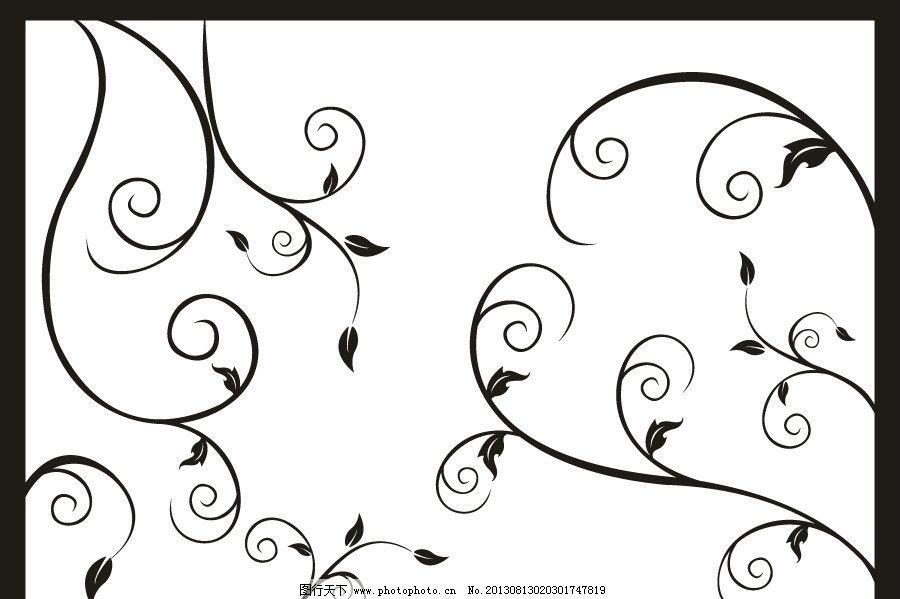 矢量叶子 树木树叶 树剪影 动感花纹 窗户花纹 窗花 简欧花纹 欧式