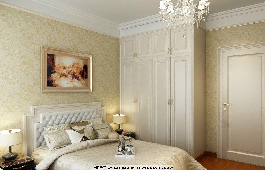 欧式卧室 背景墙 米黄欧式卧室 式造形线背景 衣柜 床 3d作品 3d设计