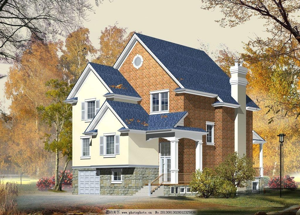 别墅 建筑 园林 房子 豪宅 环境 复式 森林 大树 花园 庭院 草地 景观