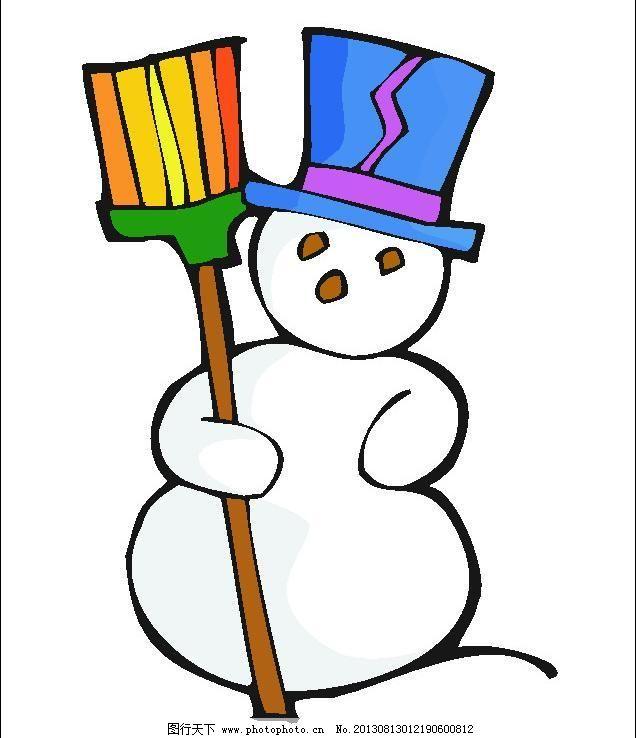cdr 冬天 节日素材 扫把 圣诞 圣诞节 雪人 小雪人 雪人 冬天 圣诞