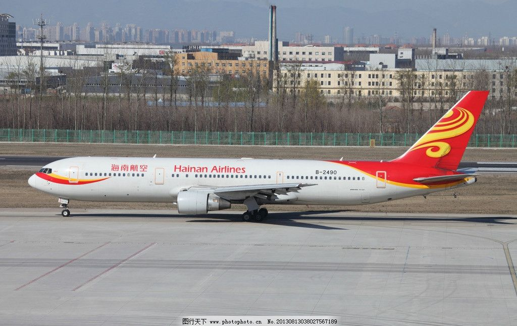 海南航空公司 机场 飞机 客机 跑道 滑行 交通工具 现代科技 摄影 14d
