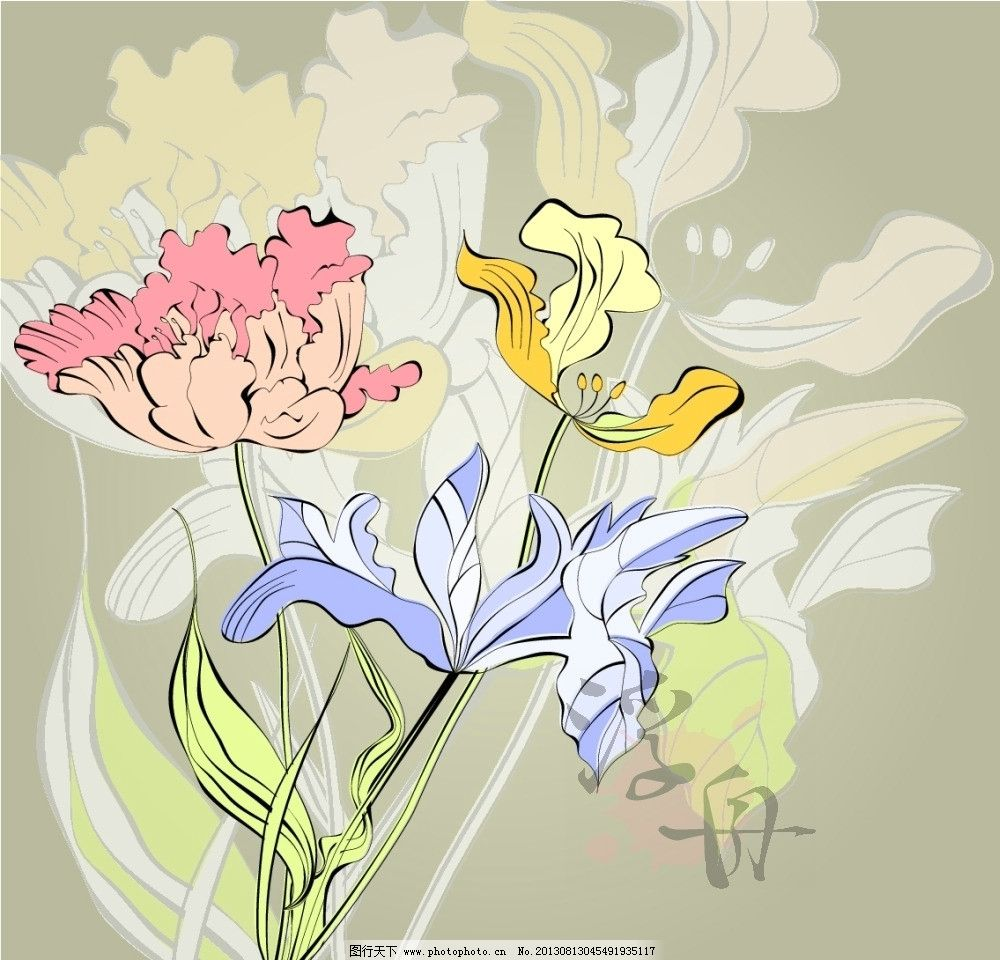 盛开花朵 花卉 灿烂 烂漫 百合 鸢尾花 手绘 淡彩 线描 白描