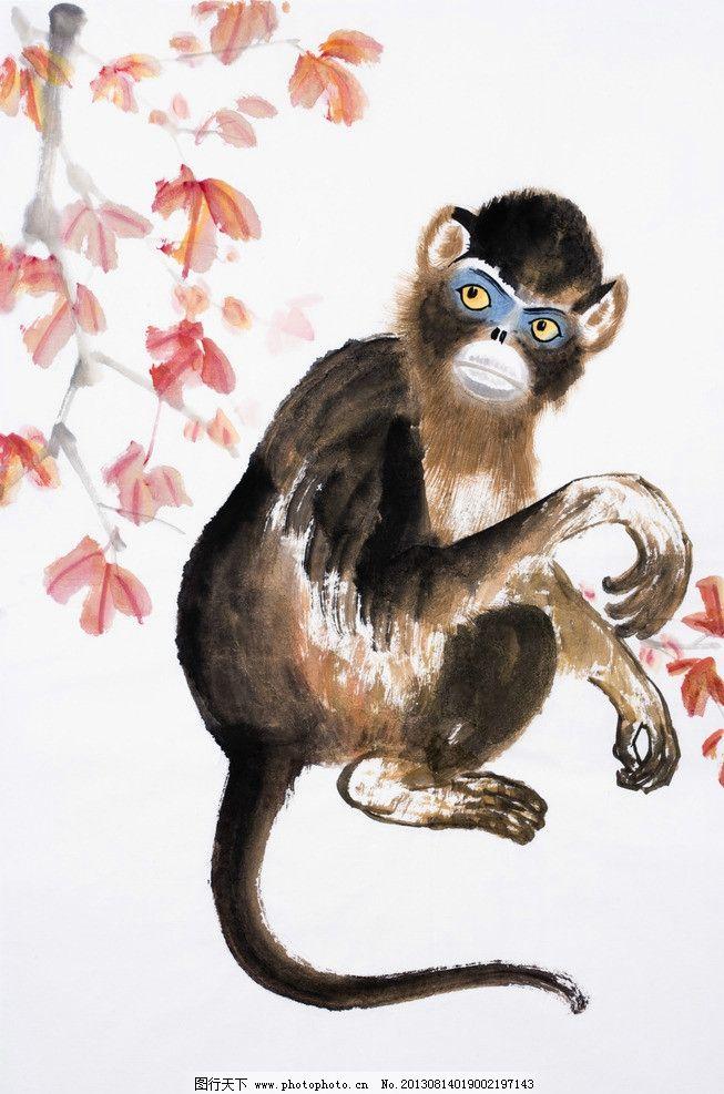 绘画猴 中国画 民俗 画作 生肖 猴年 猴子 绘画书法 文化艺术