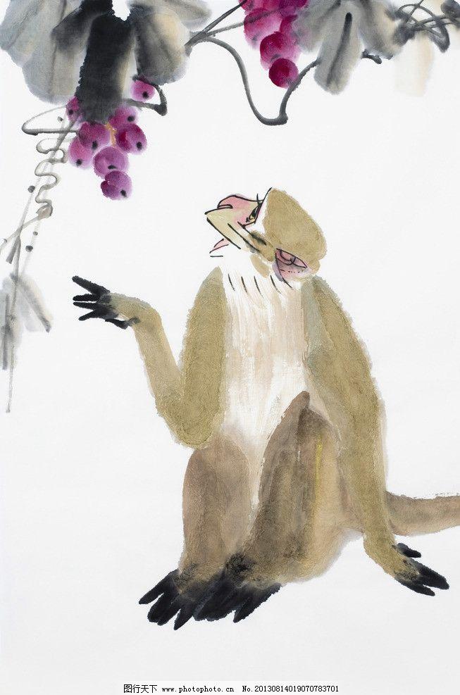 绘画猴 中国画 民俗 画作 生肖 猴年 猴子 水果