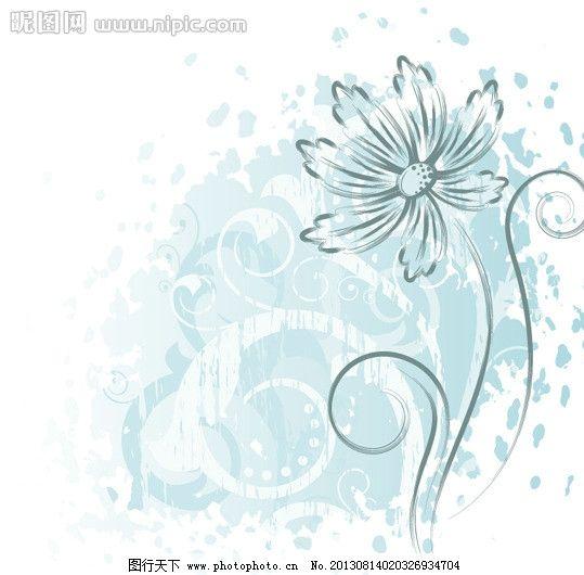淡雅菊花 手绘花卉 植物花纹 鲜花插画 菊花 海报背景 展板背景 花纹