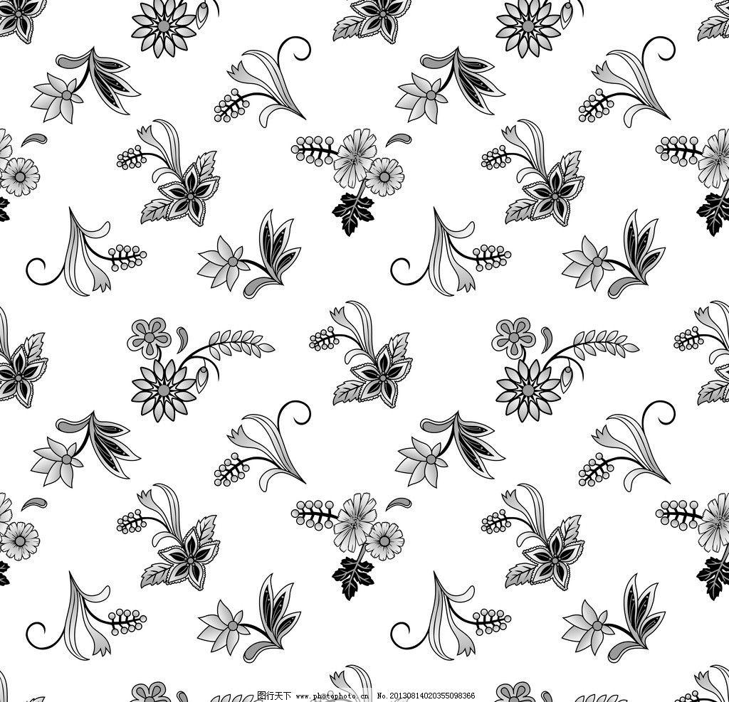 素色花纹 素色花 青花瓷 黑白花卉 黑白碎花 蝴蝶花 花边花纹 底纹