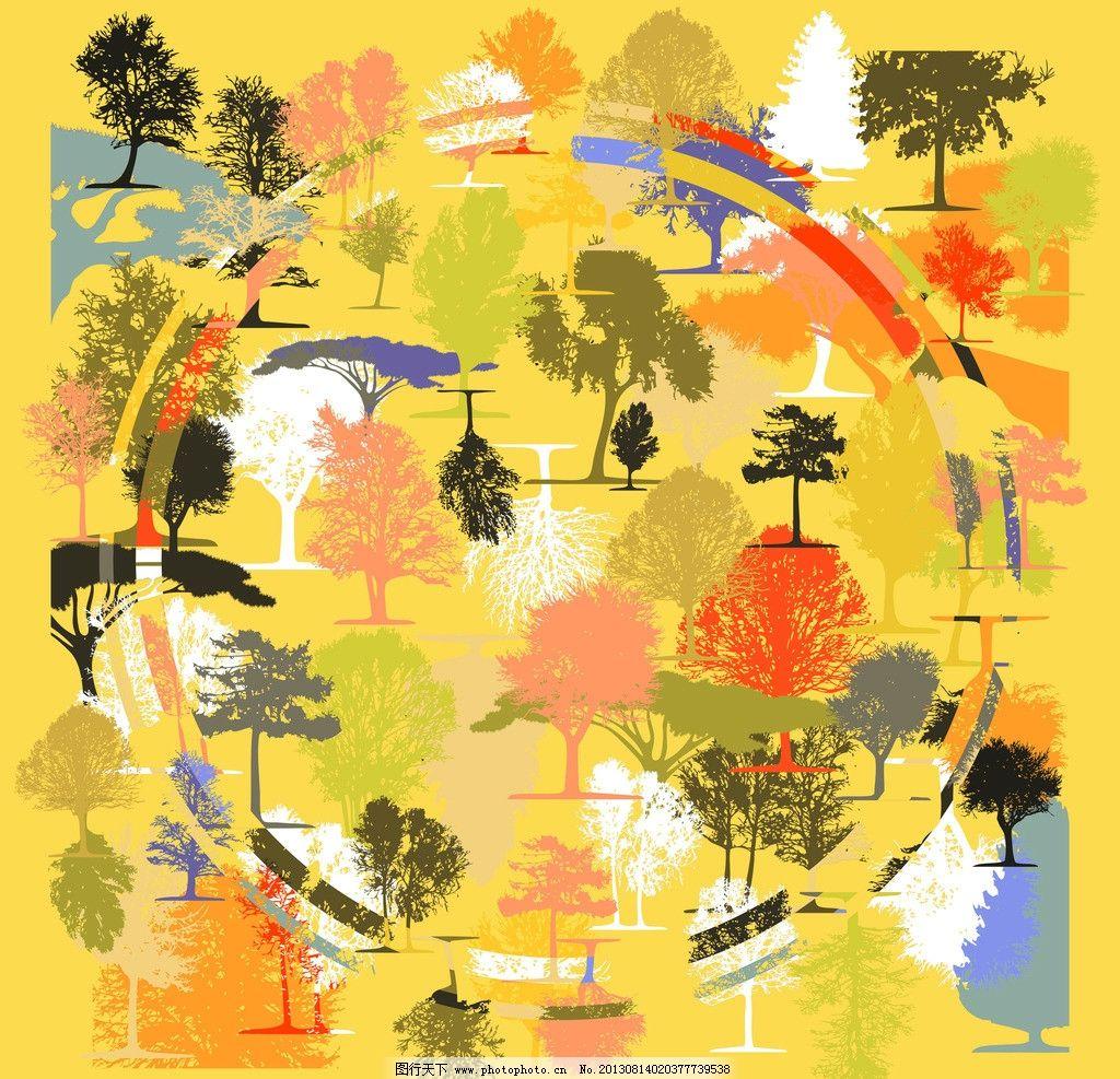 森林方巾图案 欧式 树木 彩色 炫目 圆圈 数码 印花 方巾 花边花纹