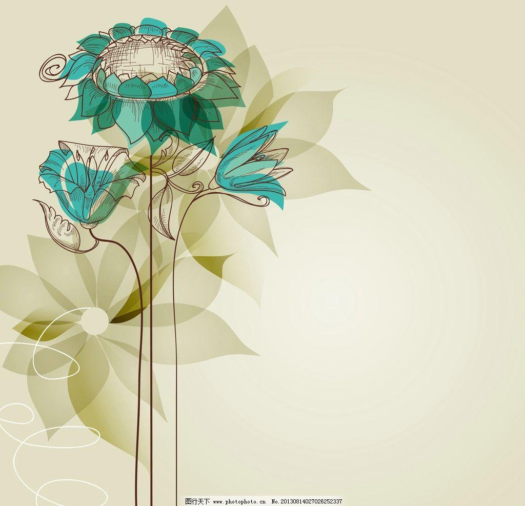 手绘花卉 花卉 梦幻花卉 花边 卡片 名片 花纹花卉 卡通背景 矢量模板