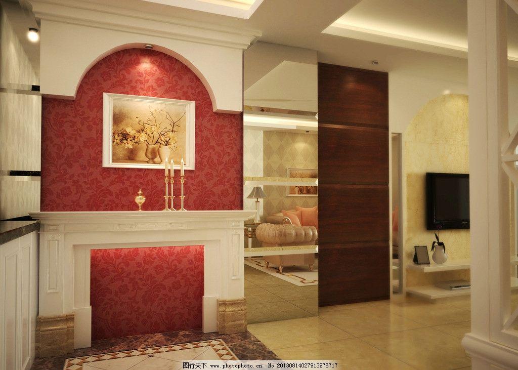 简欧小玄关 简欧 玄关 欧式 豪华 室内 挂画 瓷砖 室内设计 环境设计