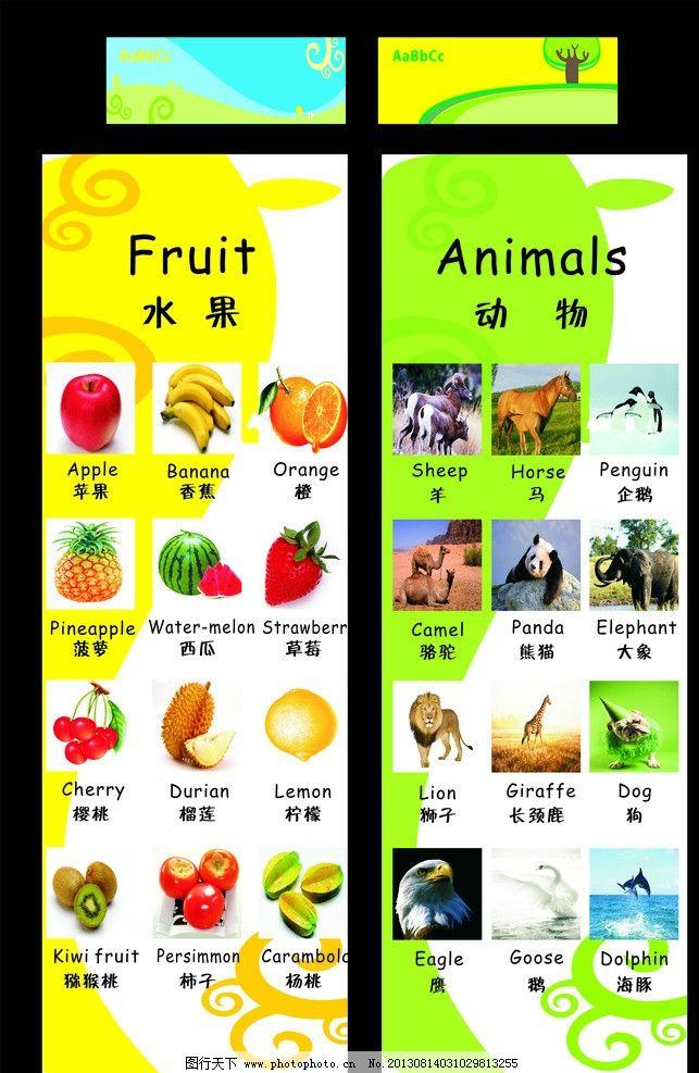 英汉释语 水果 动物 苹果 香蕉 橙 菠萝 西瓜 草莓 樱桃 榴莲