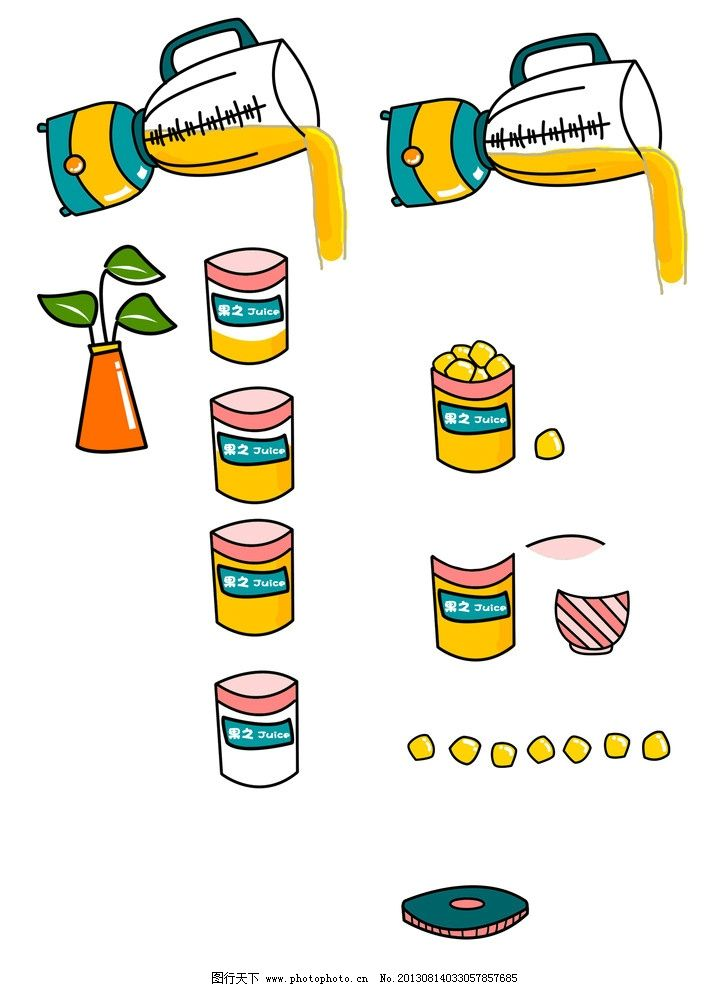 鲜榨果汁手绘素材图片