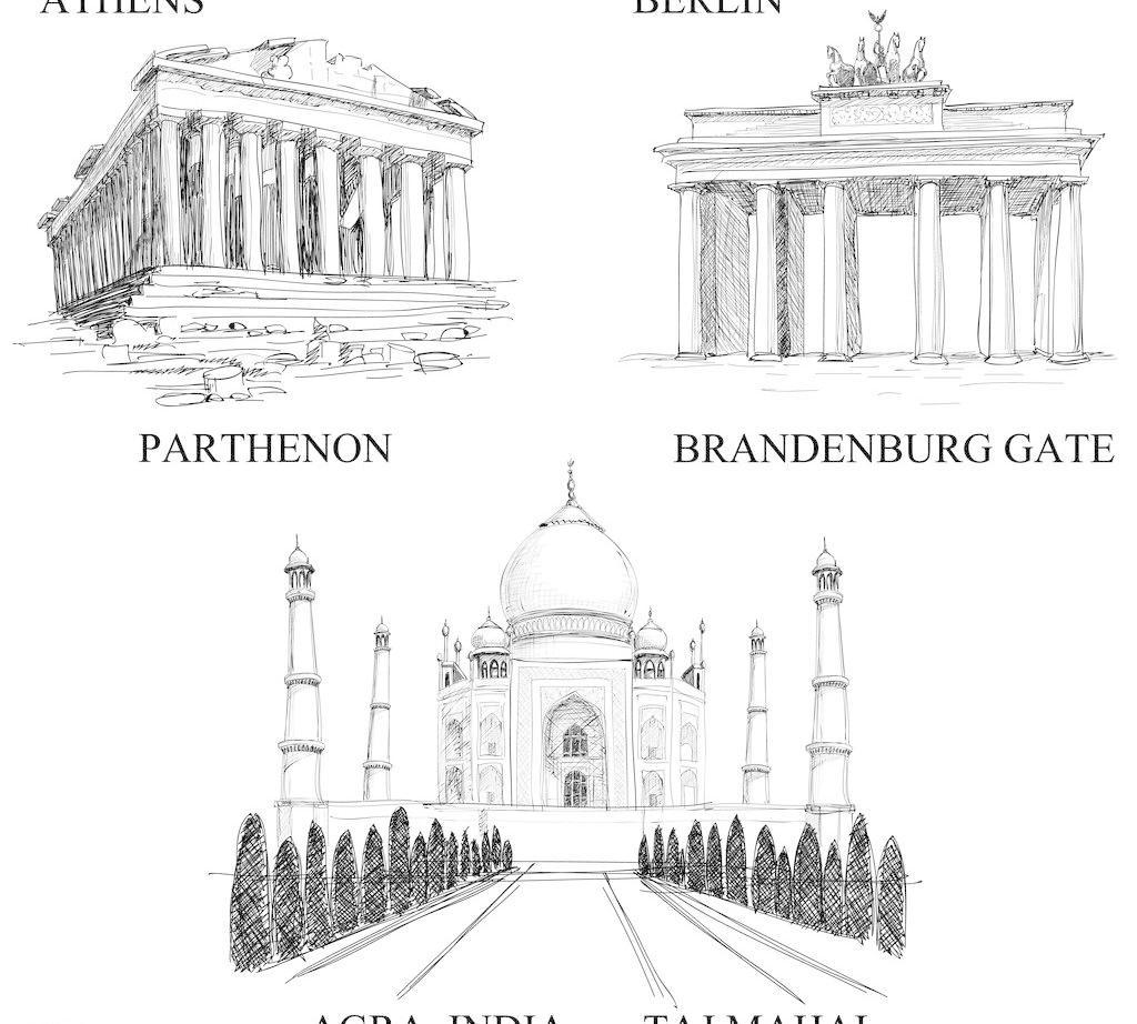 厦剪影 城市建筑 矢量 手绘都市城市建筑 钢笔画 素描 城市 大楼 高楼