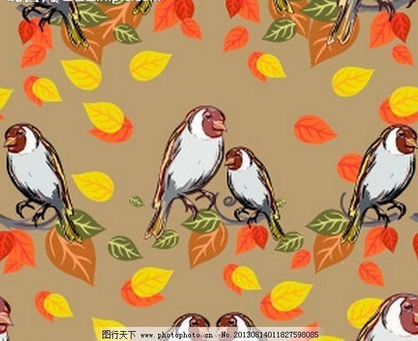 背景墙 墙帖 墙纸 壁纸 无缝花纹 小鸟 树叶 黄叶 秋天 卡通 卡通动物