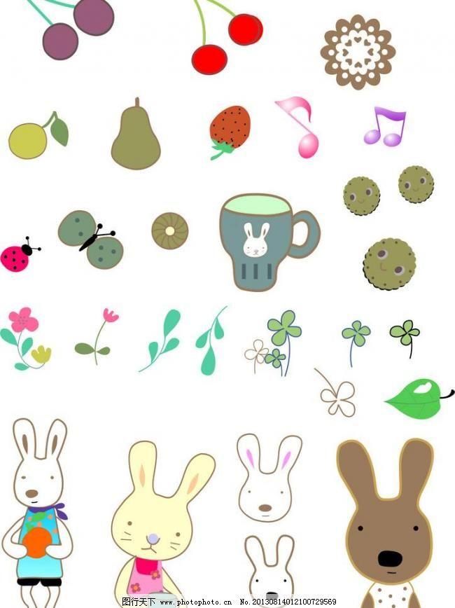 卡通 水果 树叶 音符 花 小动物图片