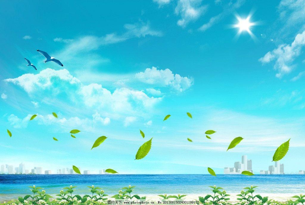 海边蓝天图鸟树叶海边风景白云自然风光自然景观v蓝天300纸盒瓶可乐包装设计图片