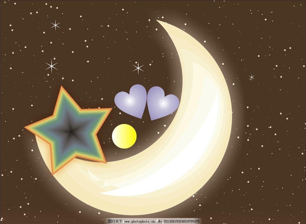 月亮黑夜星空 月亮星图 月亮 星星 黑夜 满天星 自然风景 自然景观