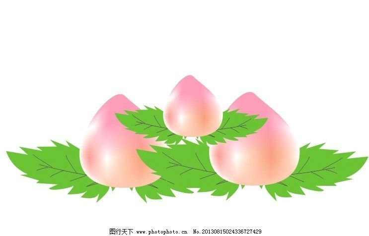 桃子 仙桃 绿色 粉色 矢量图 桃子矢量素材 桃子模板下载 水果 可爱的