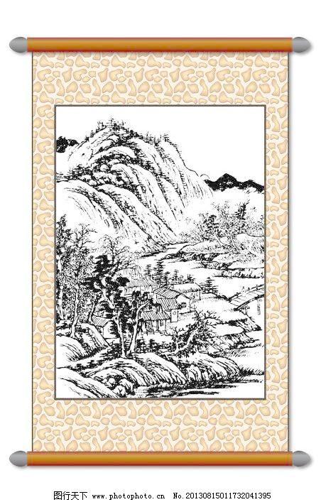 风景画 白描风景 版画风景 山水画 古建筑 树木 房屋村庄 线描 工笔