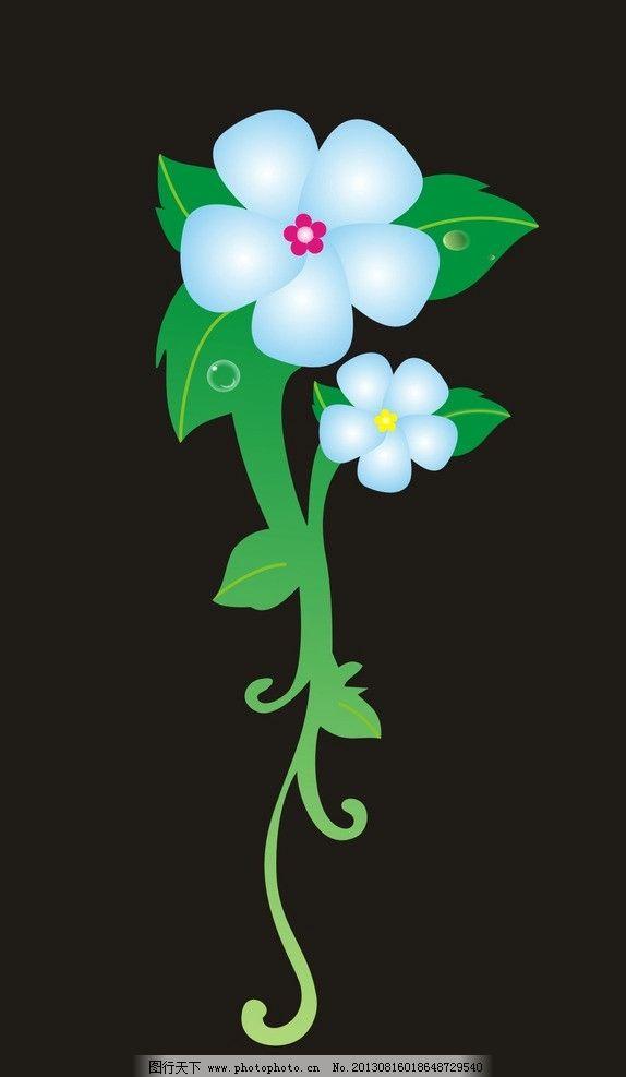 动漫花朵 花儿 蓝色花 卡通花 黑色背景 花朵 其他 动漫动画 设计 300