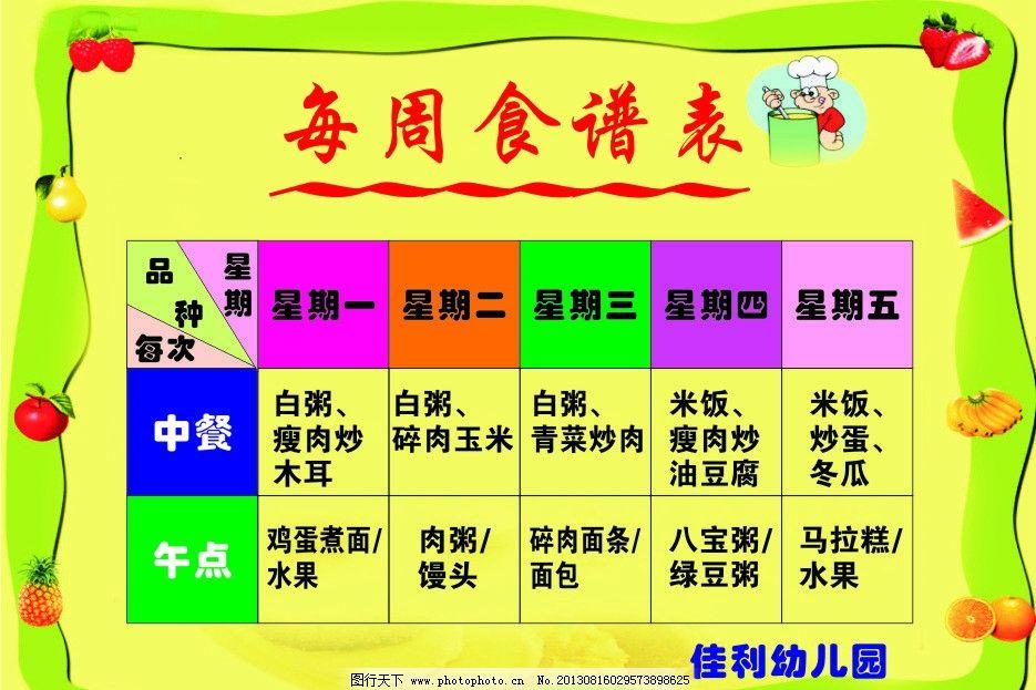 幼儿园食谱表图片