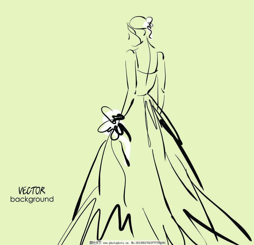 手绘新娘 素描新娘 婚纱 美女 美丽 人物 动感 线条 女性女人