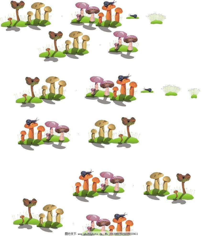 蘑菇 卡通蘑菇 彩色蘑菇 可爱蘑菇 植物 蔬菜 生物世界 矢量 cdr