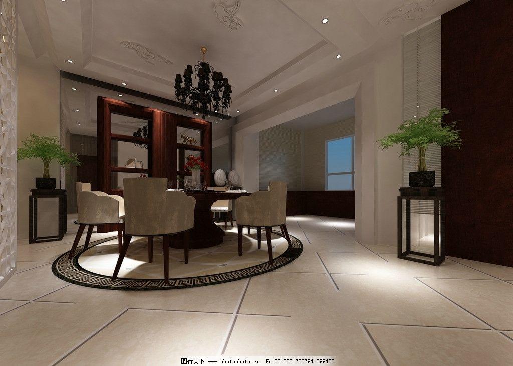室内效果图 餐厅效果图 地板 餐桌 天花板 吊顶 室内设计 环境设计