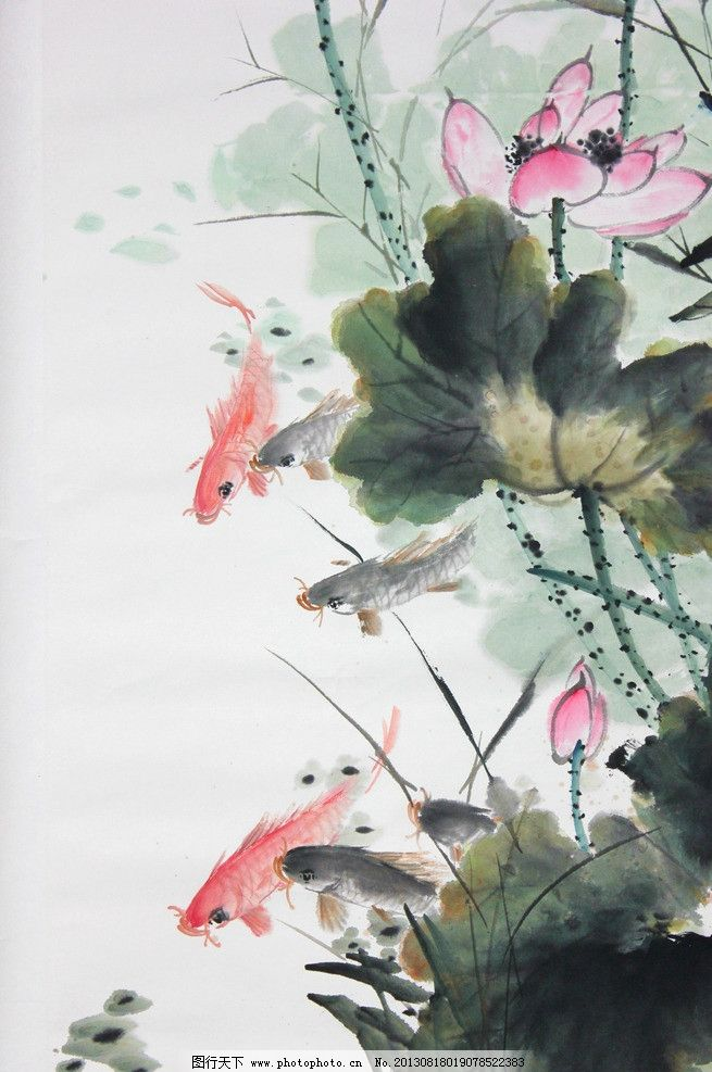 鲤鱼 红色鲤鱼 红鲤 水墨 丹青 绘画 国画