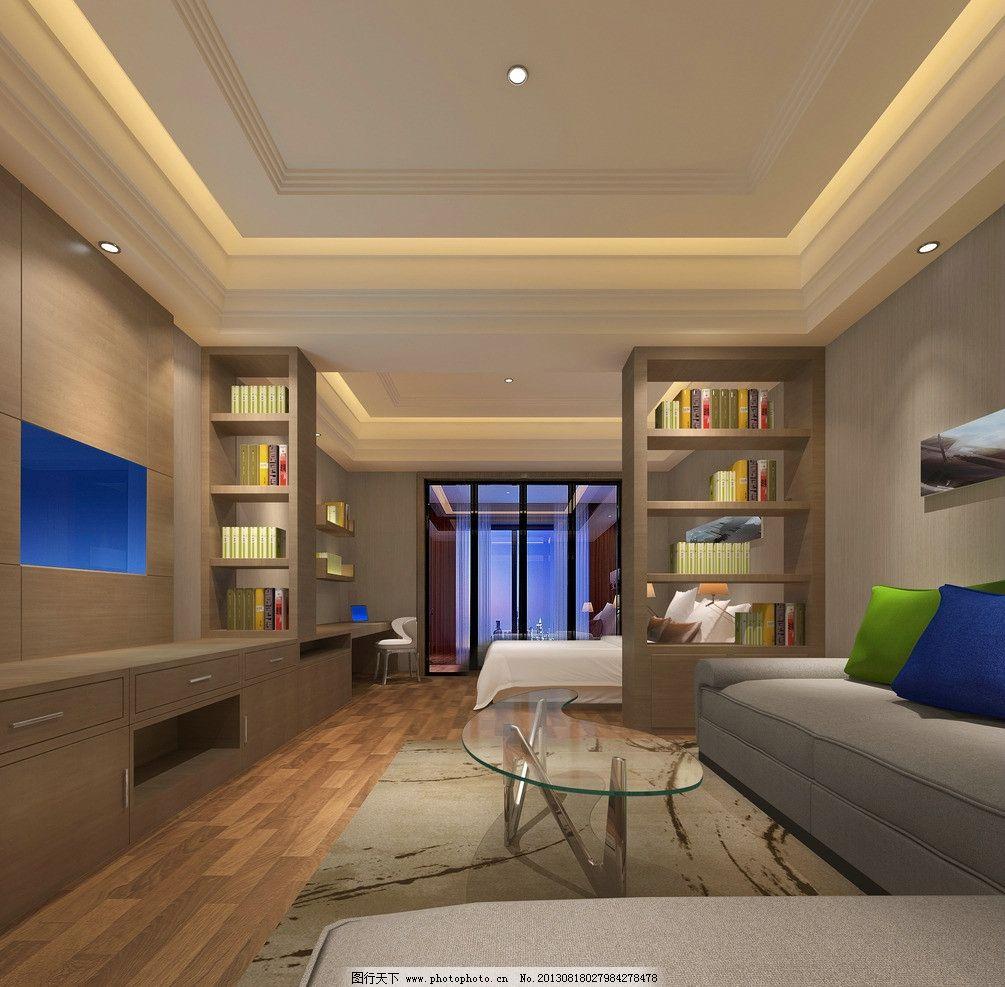 单身公寓酒店效果图 单身公寓 酒店式公寓 精装修        床 电视柜图片