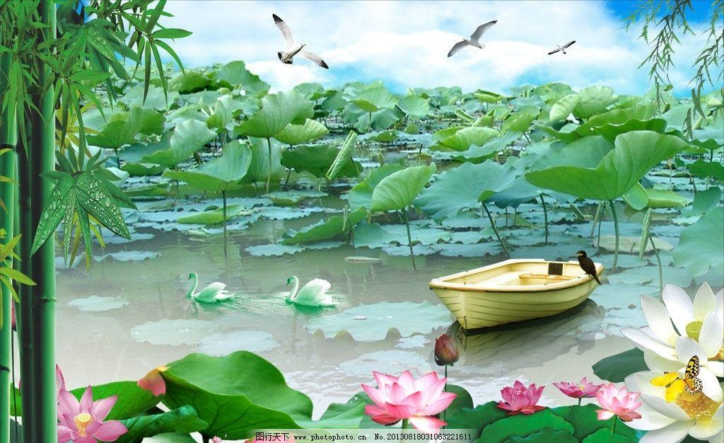 风景画 风景图片 风景模板 水船 荷花 荷叶 鸳鸯鹅 竹 竹叶