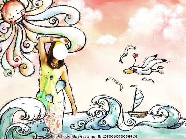 海边美少女卡通可爱风格psd插画效果图片免费下载 白云 帆船 海鸥