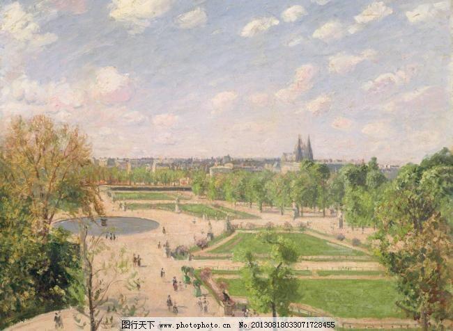 卡米耶毕沙油画作品 春天 法国 风景油画 花园 绘画书法 文化艺术