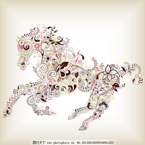 复古花纹动物矢量设计