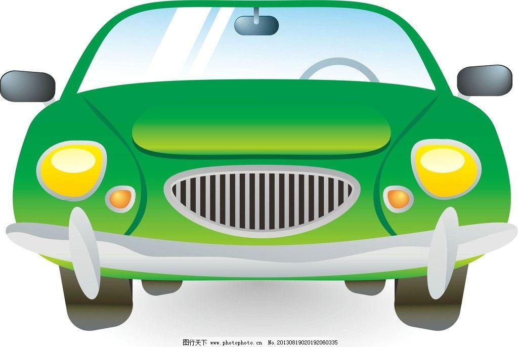 绿色小轿车卡通画图片