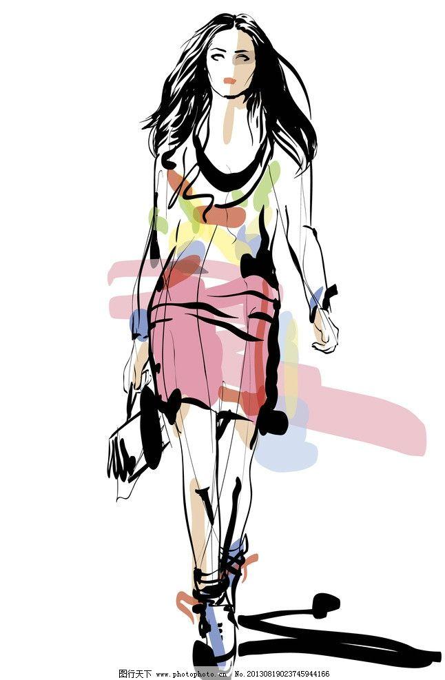 手绘服装设计 服装设计 潮流 设计 时尚美女 购物 女孩 美女 女郎