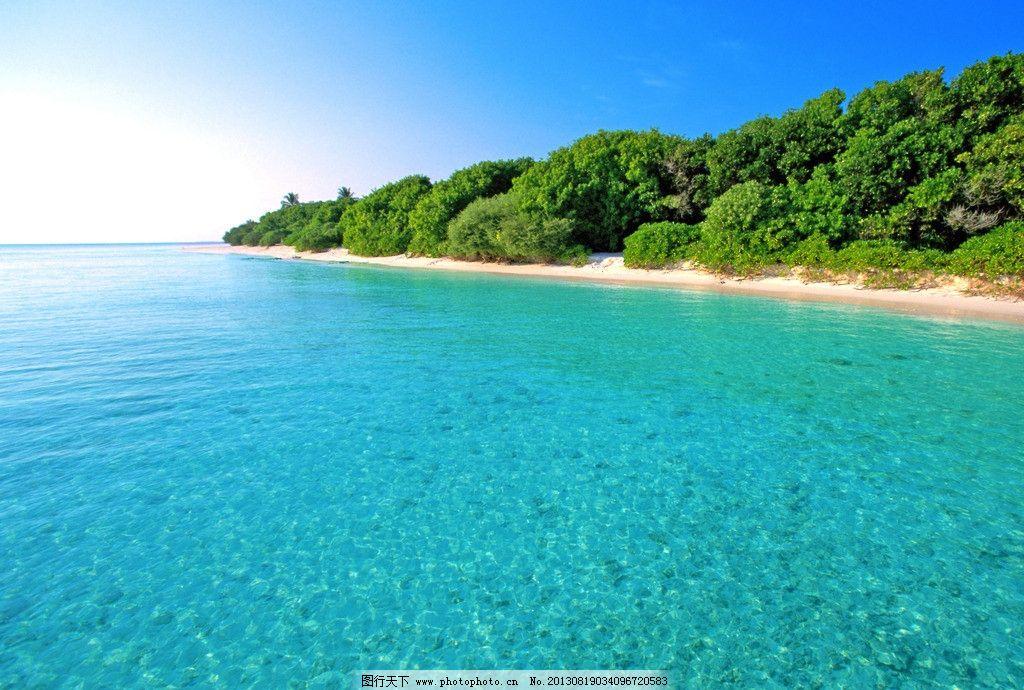 马尔代夫 沙滩 海景 海洋 大海 旅游 蓝天 白云 海岛 森林 树林 清澈