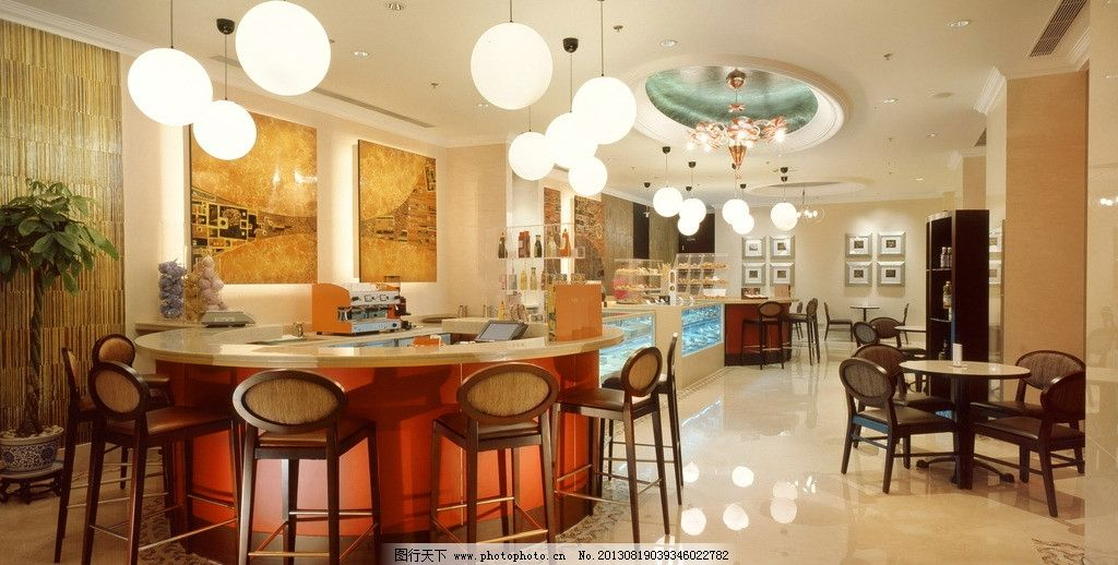 酒店夜景 吧台 服务台 椅子 欧式椅子 欧式家具 吊灯 欧式餐厅 自助