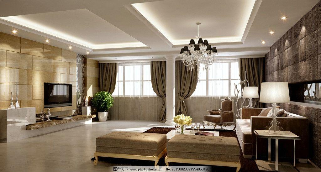 客厅效果图设计装饰 吊灯 沙发 枕头 桌子 电视机 凳子 鲜花 杯子