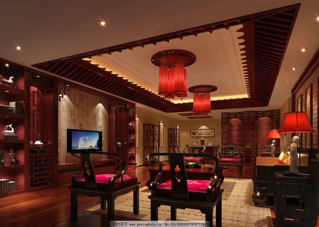 客厅装修效果图 桌子 凳子 吊灯 台灯 沙发 电视机 装饰架 装饰品