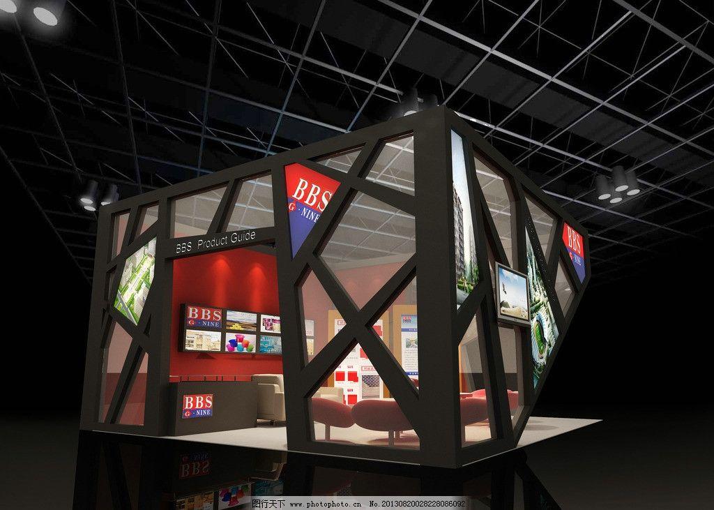 展台效果图设计 电视机